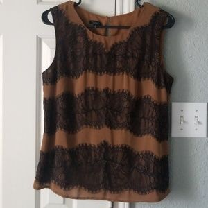 Talbots Mocha Brown Tank with Black Lace
